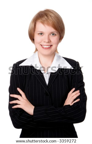 happy businesswoman smiling with hand on bust iolated over white background - stock photo