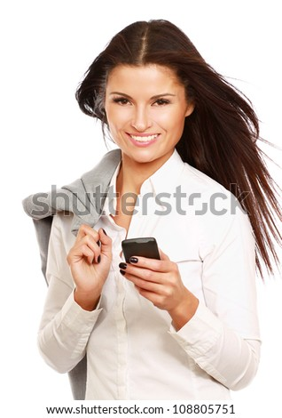 Happy businesswoman using mobile phone, smiling, isolated on white - stock photo