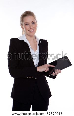 happy businesswoman using tablet - stock photo