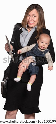 Happy businesswoman with baby over white background