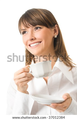 Happy businesswoman with cup of coffee, isolated on white