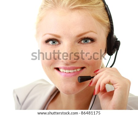 Happy businesswoman with headset isolated on white background