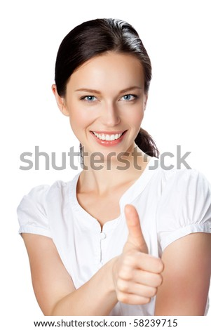 Happy businesswoman with thumbs up gesture, isolated on white - stock photo