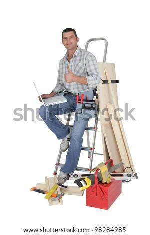 Happy carpenter - stock photo