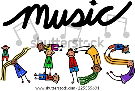 Happy cartoon little stick girls and boys forming the text title - Music Kids. - stock photo