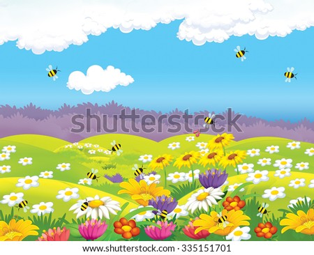 Happy cartoon meadow scene - illustration for the children