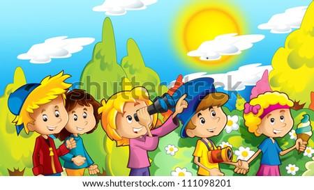 Happy cartoon school trip sightseeing -illustration for the children 1 - stock photo