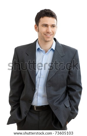 Happy casual businessman wearing suit and open collar shirt without tie, smiling.? - stock photo