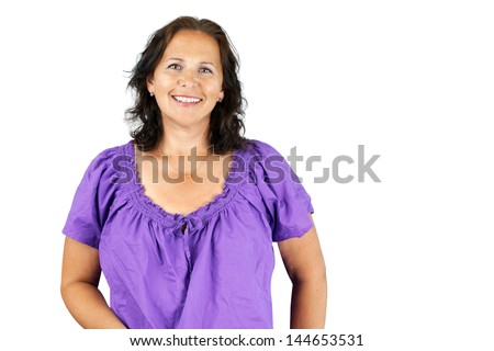 Happy casual caucasian brunette middle age woman isolated - stock photo