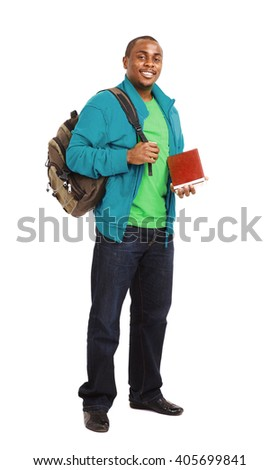 Happy Casual Dressed Young African American College Student Isolated on White Background - stock photo