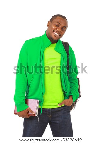 Happy Casual Dressed Young Black College Student Isolated on White Background - stock photo