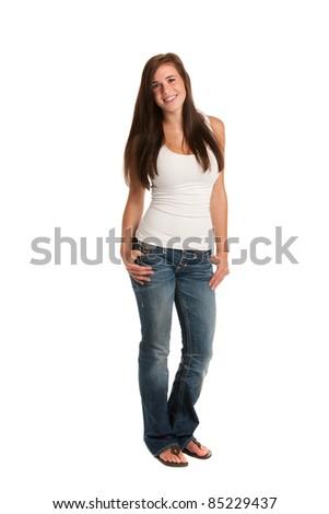 Happy Casual Dressed Young Female Highschool Student Isolated on White Background