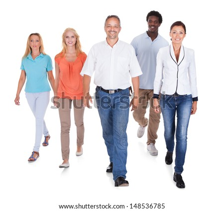 Happy Casual Group Of People Standing Over White Background - stock photo