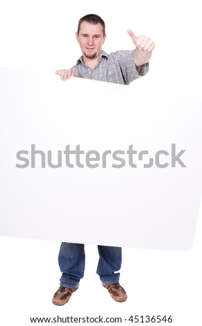 happy casual guy holding banner. over white background