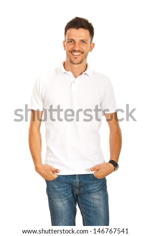Happy casual man in white blank t-shirt isolated on white background