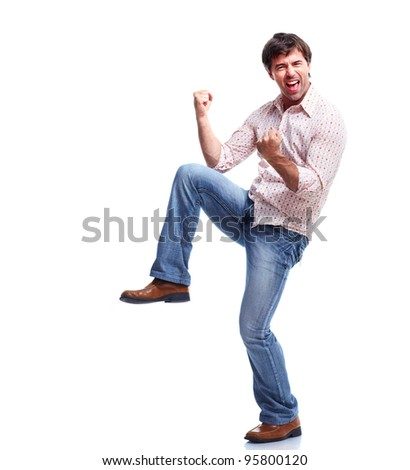 Happy casual man. Isolated on white background. - stock photo