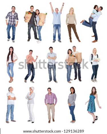 Happy casual people photos. Isolated on white background