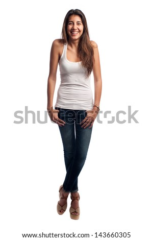 happy casual woman isolated on white background - stock photo