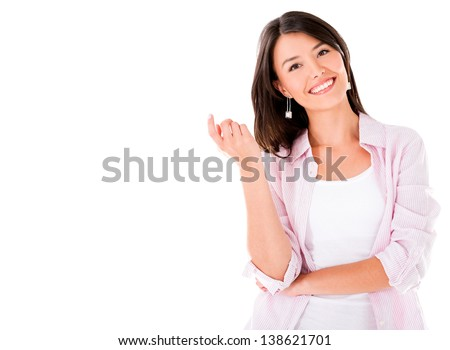 Happy casual woman smiling - isolated over a white background - stock photo