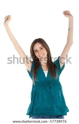 Happy casual woman with arms up - isolated over a white background