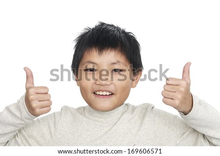 Happy casual young man showing thumb up - stock photo