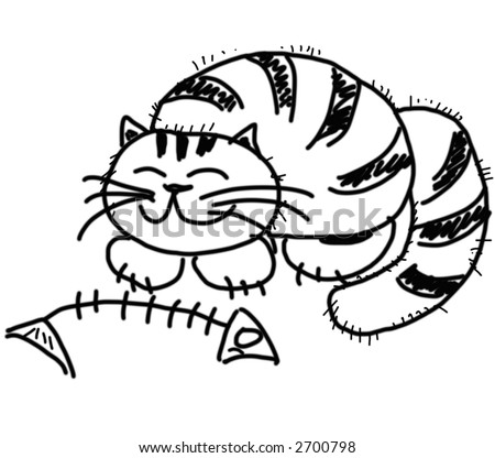 Cat Skeleton Drawing Happy Cat And Fish Skeleton