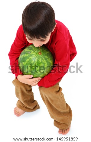 Happy Caucasian Boy Child Carrying Watermelon