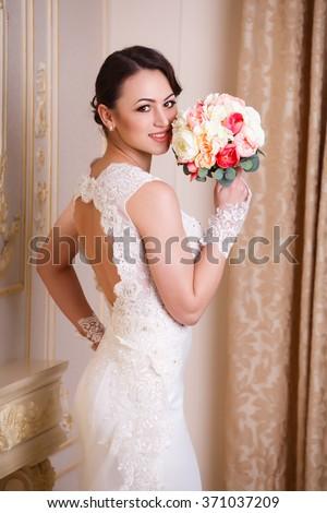 Happy caucasian bride, close up shot  - stock photo