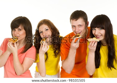 Happy Caucasian brilliant campaign of four people eating pizza on a white background