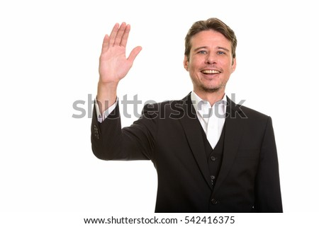 Happy Caucasian businessman waving hand isolated against white background