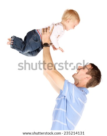 Happy caucasian dad holding his baby boy. Image is isolated on a white background.