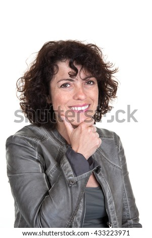 Happy caucasian lady isolated on white background.