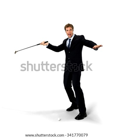 Happy Caucasian man with short medium blond hair in business formal outfit holding prop - Isolated
