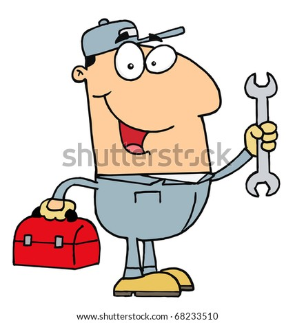 Happy Caucasian Mechanic Man With A Tool Box And Wrench - stock photo