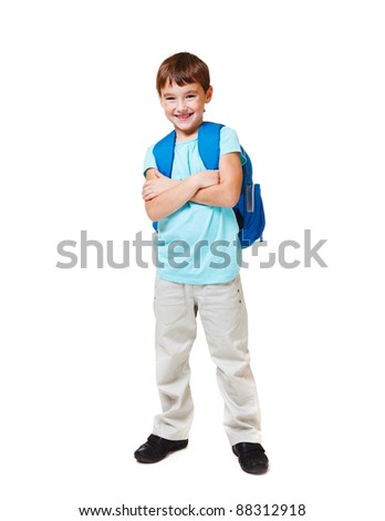 Happy Caucasian student with backpack, over white - stock photo