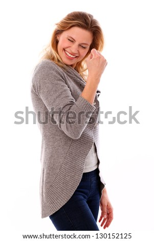 Happy caucasian woman in casual isolated over white background - stock photo