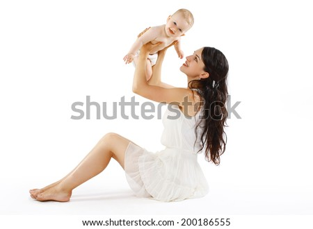 Happy cheerful baby and mom on a white background - stock photo