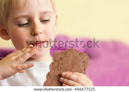Happy cheerful boy eating chocolate keeps rukazh chocolate bar, chocolate smeared, very soft focus - stock photo