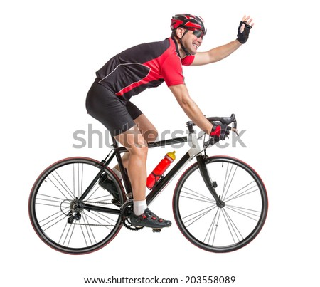 happy cheerful cyclist waving hands and riding a bicycle isolated on white background. Successful cyclist on a road bike. Cyclist waving hands while riding a bicycle. Winner bike racer. - stock photo