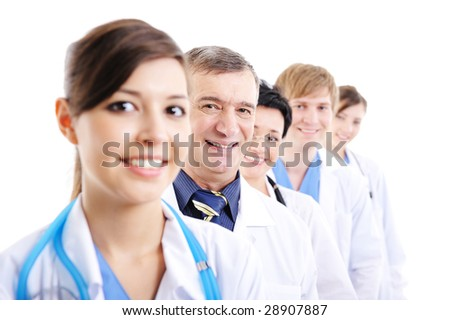 happy cheerful doctor's faces looking at camera - isolated on white background - stock photo