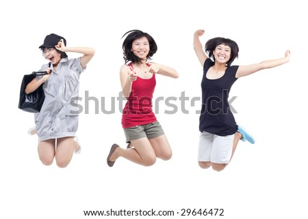 Happy, cheerful, playful youths jumping for joy - stock photo