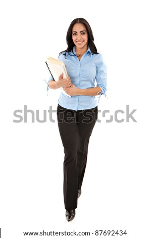 Happy Cheerful Young Hispanic Businesswoman Holding Documents Walking Isolated on White - stock photo
