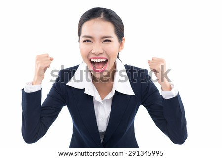 Happy cheering businesswoman winning excited looking at camera. Energetic fresh young mixed race Asian Caucasian woman professional isolated on white background. - stock photo