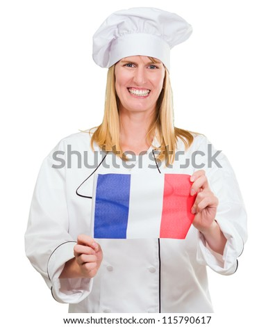 Happy Chef Holding French Flag On White Background