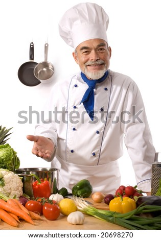 happy chef isolated over white - stock photo