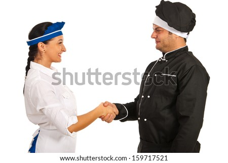 Happy chef male meeting smiling waitress isolated on white background - stock photo