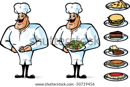 Happy Chef showing or any food on the side can be put in his hand or can be holding anything. - stock photo