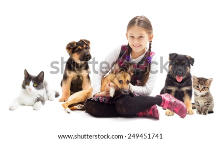 happy child and a puppy and kitten - stock photo