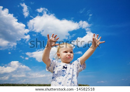 happy child and blue sky