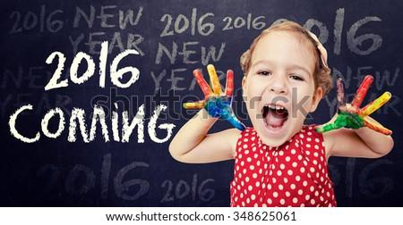 Happy child announcement New 2016 Year  - stock photo